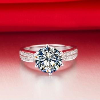 Solid Platinum Side gem studded 2CT Moissanite Diamond Engagement Ring 5