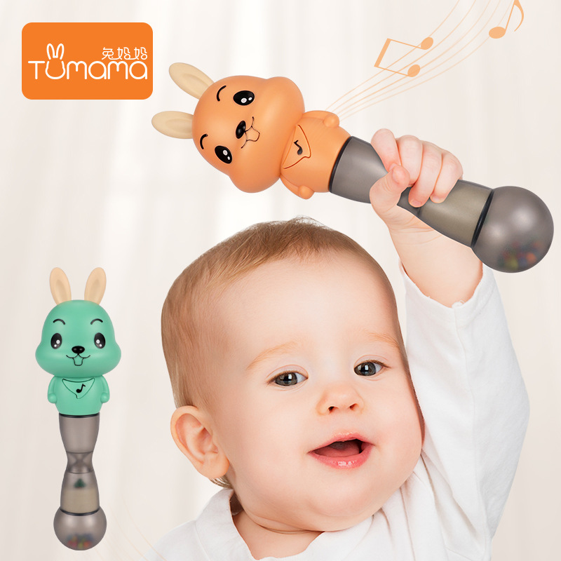 0 3Music early education sand hammer baby plastic toys bell shaker sand hammer baby dental gel hand grasp music bar Gutta percha in Baby Rattles Mobiles from Toys Hobbies