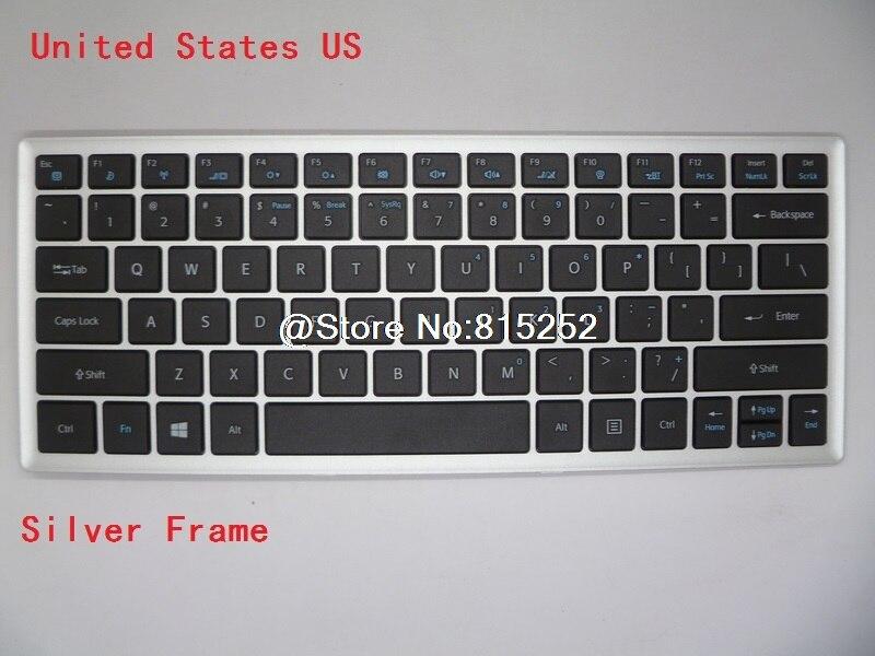Laptop Keyboard For Lengda X400T UT43 D1 UT45 UT47 Black With Silver Frame US English YH-BC12KB01 6640-0092-0006 laptop keyboard for acer silver without frame bulgaria bu v 121646ck2 bg aezqs100110