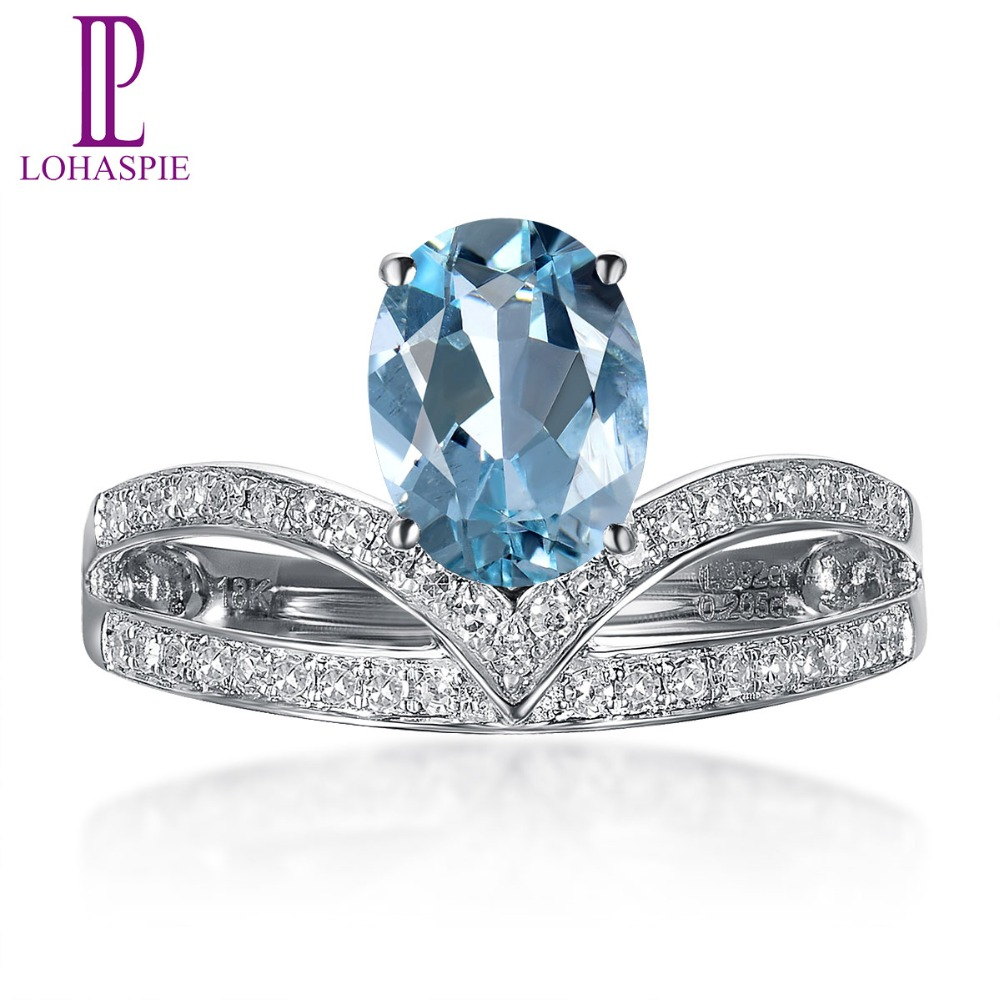 Lohaspie 1.12ct Natural Gemstone Aquamarine & Diamonds Solid 18k White Gold Engagement Ring Diamond-Jewelry For Women Gift