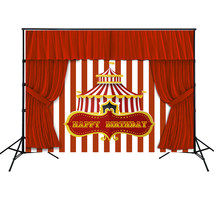 HUAYI Carnaval Circus Achtergrond Rood Gordijn wit en rood gestreepte Kids Birthday Party Photobooth Achtergrond Tafel Decor w-2071(China)