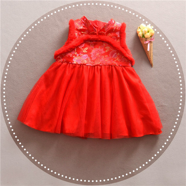Girls Winter Dress Chinese Style Traditional Child Tang Suit Embroidery Cheongsam Dresses Robe Baby Qipao For New Year Dresses