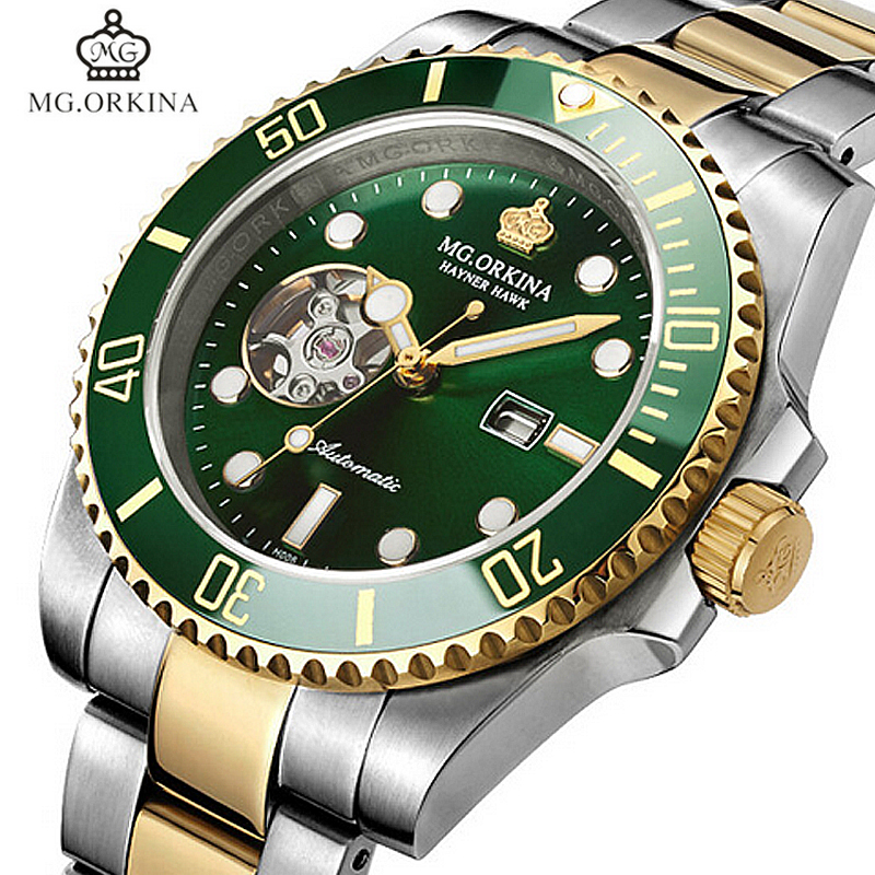 цена на Stainless Steel 316L Mechanical Wrist Watches Men MG.ORKINA Green Automatic Self Winding Mens Watch Waterproof Luminous Clock