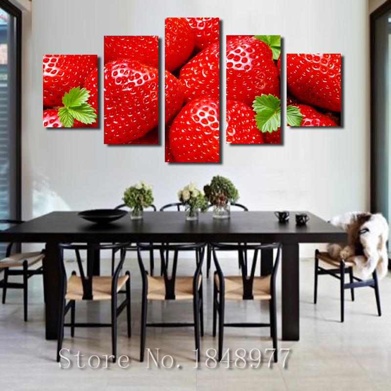 5 Piece Large Modern Home Painting Kitchen Wall Decor Red Strawberry Canvas Print Fruit Art Room Decoration No Frame In Calligraphy From