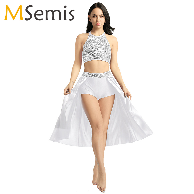 Ballet Dress Women Lyrical Dance Costumes Ballerina Leotard Dance Dress Halter Neck Sleeveless Sequined Crop Top Ballet Skirt