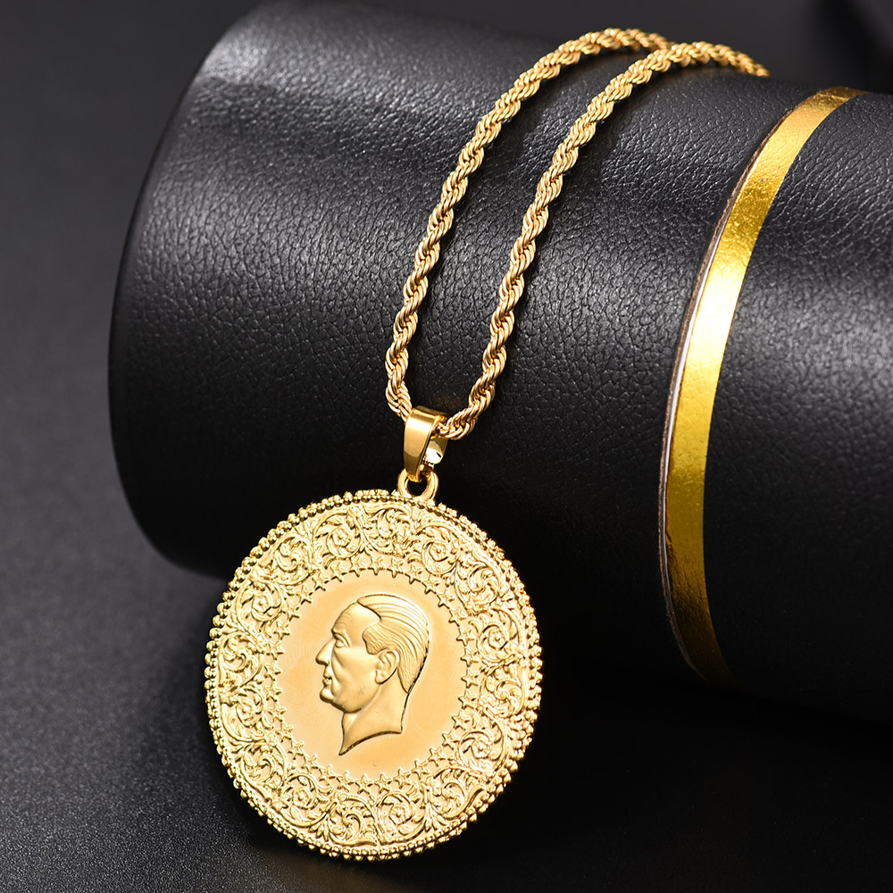 Image 4 - Three Size Muslim Islam Turkey Ataturk Pendant Allah Arab  Necklaces for Women Gold Color Turkish Coins Jewelry Ethnic  GiftsPendant Necklaces