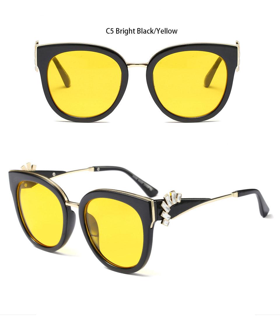HTB1ud9EgE3IL1JjSZFMq6yjrFXaP - Oversized Crystal Acetate Black Cat Eye Sunglasses 2018