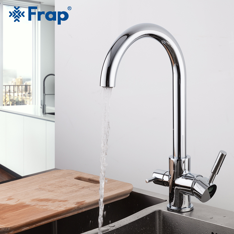 FRAP Kitchen Faucet Brass Kichen Sink Faucet Water Mixer Taps With Filtered Water Mixer Faucet Cold And Hot Water Tapware