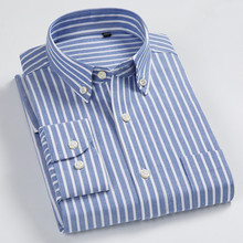 Striped Shirt Mens Shirts Casual Slim Fit 100% Cotton Men Long Sleeve Oxford Business Dress Streetwear
