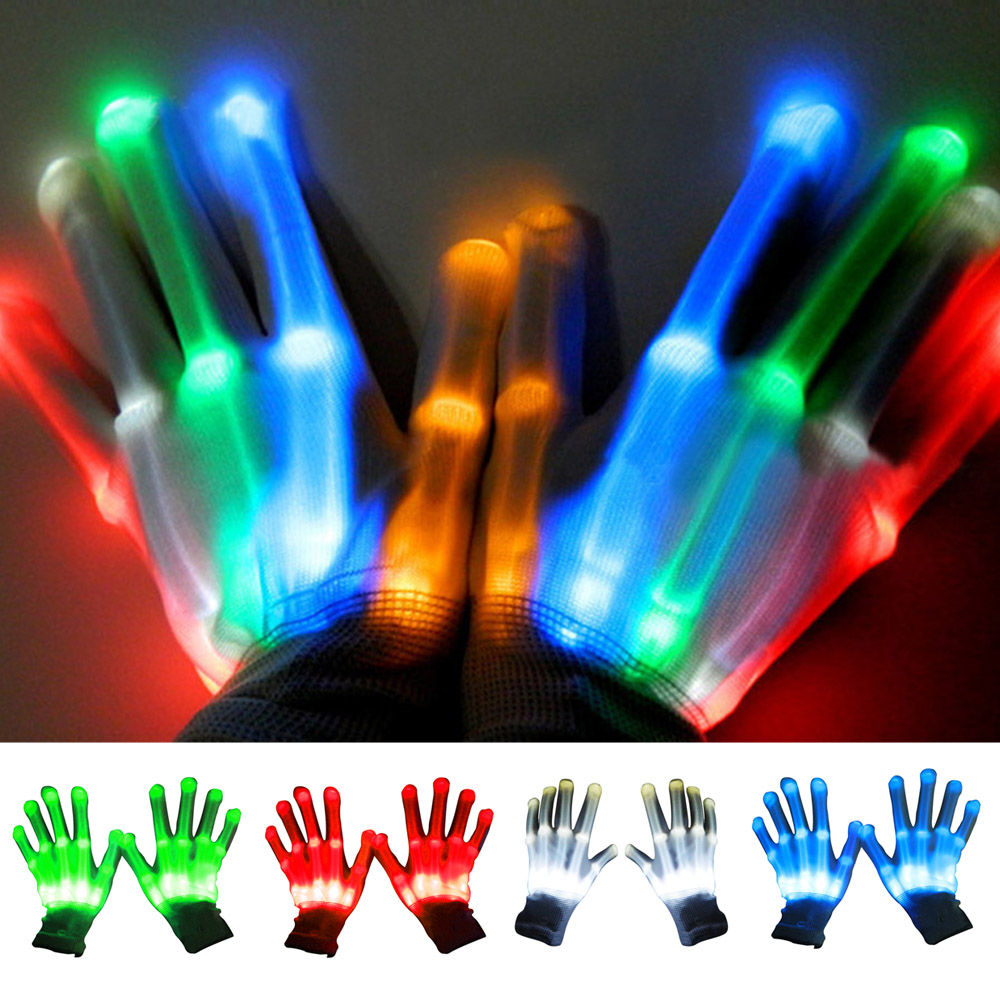 Satkago LED Light Gloves Flashing Cotton Hand Finger Gloves Colorful Lighting for Dancing Carnival Concert Halloween Party