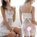 2016 Nova Moda das Mulheres Senhoras Sexy Lingerie Corset Ver Através Vestido de Renda Underwear Conjoined Vestido Terno Novo Design
