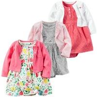 Весна-лето 2020, одежда для маленьких девочек, комбинезон, 2 шт./компл., Одежда для новорожденных девочек, хлопковые комплекты одежды для младен...