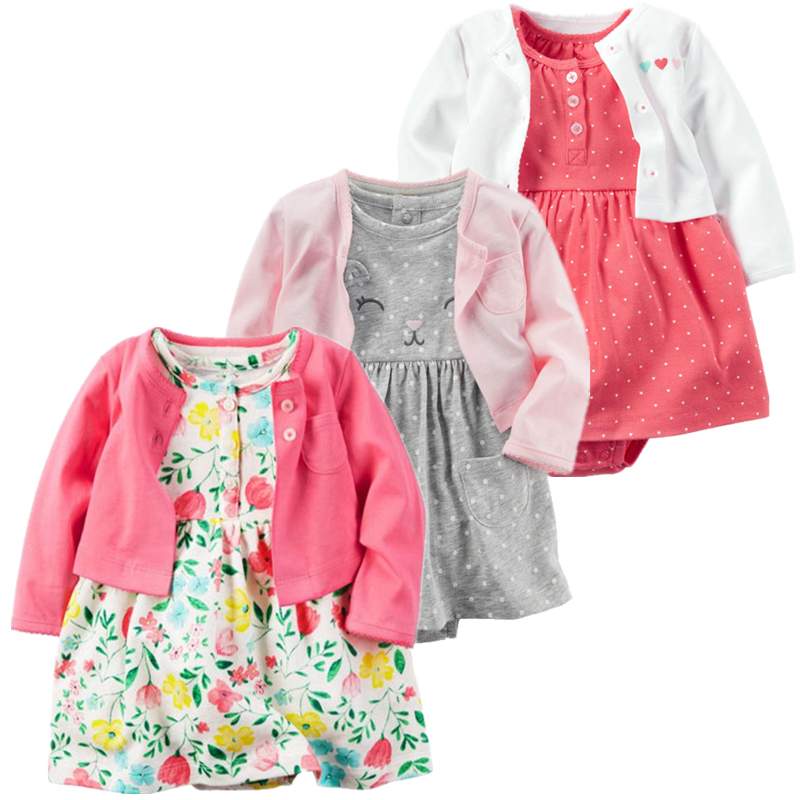 2019 spring summer baby girl clothes romper 2pcs set newborn baby girl clothing cotton Infant Clothing Sets Baby Jumpsuit in Clothing Sets from Mother Kids