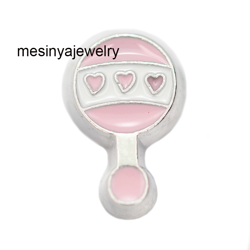 10 piezas Rosa bebé sonajero juguete infantil personalizado colgantes flotantes para medallón de vidrio