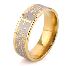 Gold Color titanium Steel Stamp Letter and Cross Rings for Men Women(China)