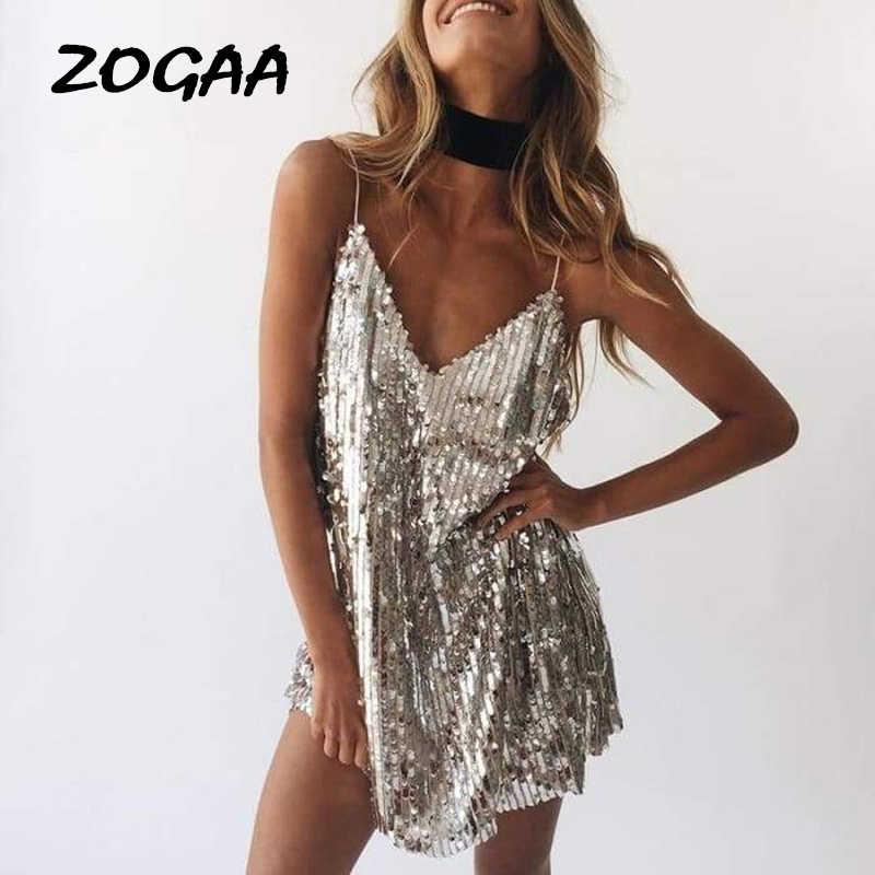 ZOGAA אלגנטי נשים שמלות קיץ הלטר מחשוף נמוך לחתוך ופאייטים V צוואר רצועות Bodycon גבירותיי מיני אופנה המפלגה שמלה