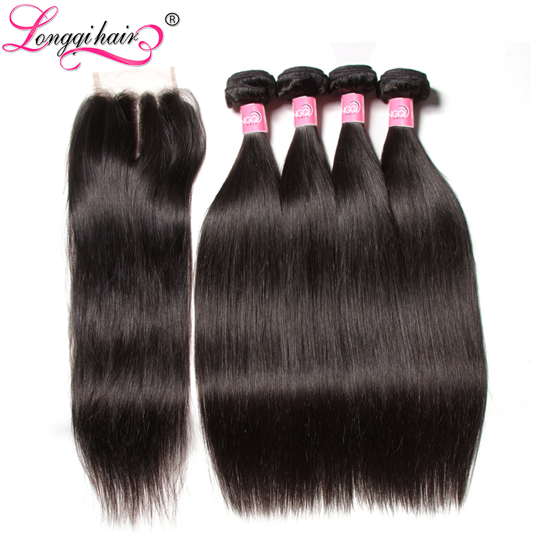 Malaysian Straight Human Hair 4 Bundles with Closure 4x4 Three Free Middle Part USA 3 5