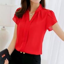 Summer 2019 women's chiffon blouse short-sleeved red ladies office work