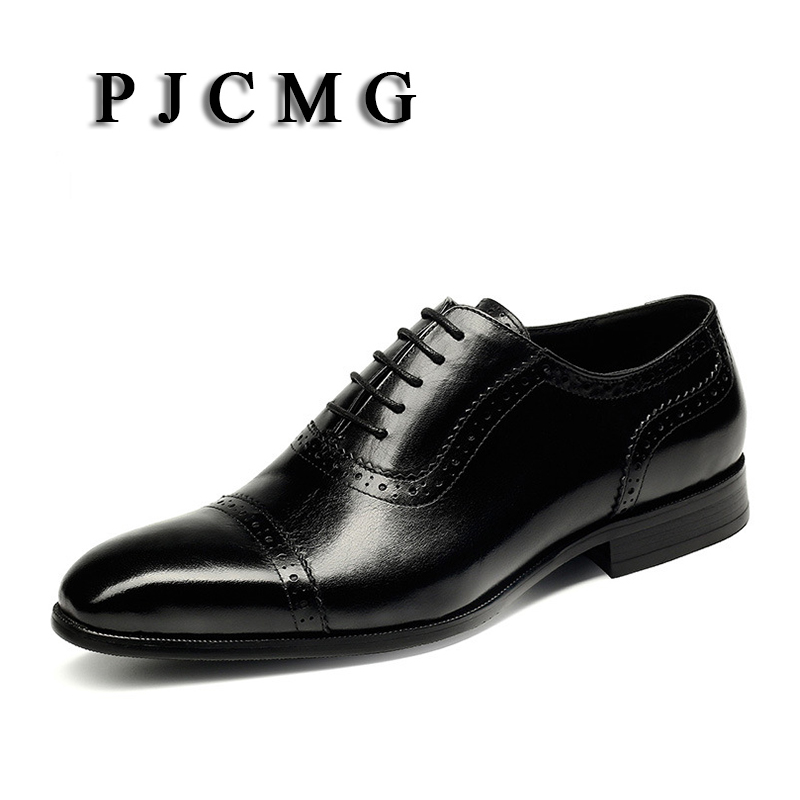 PJCMG New Breathable Mens Business Lace-Up Black/Wine Red Formal Carved Dress Genuine Leather Wedding Oxfords Office Shoes pjcmg fashion high quality wine red black formal oxfords business genuine leather lace up dress breathable mens wedding shoes