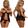 Diseño de sujetador Abierto Sexy Lencería nupcial de Encaje Ceñido de la señora de Las Mujeres ropa de Noche + g-string Ropa de Dormir QZ214