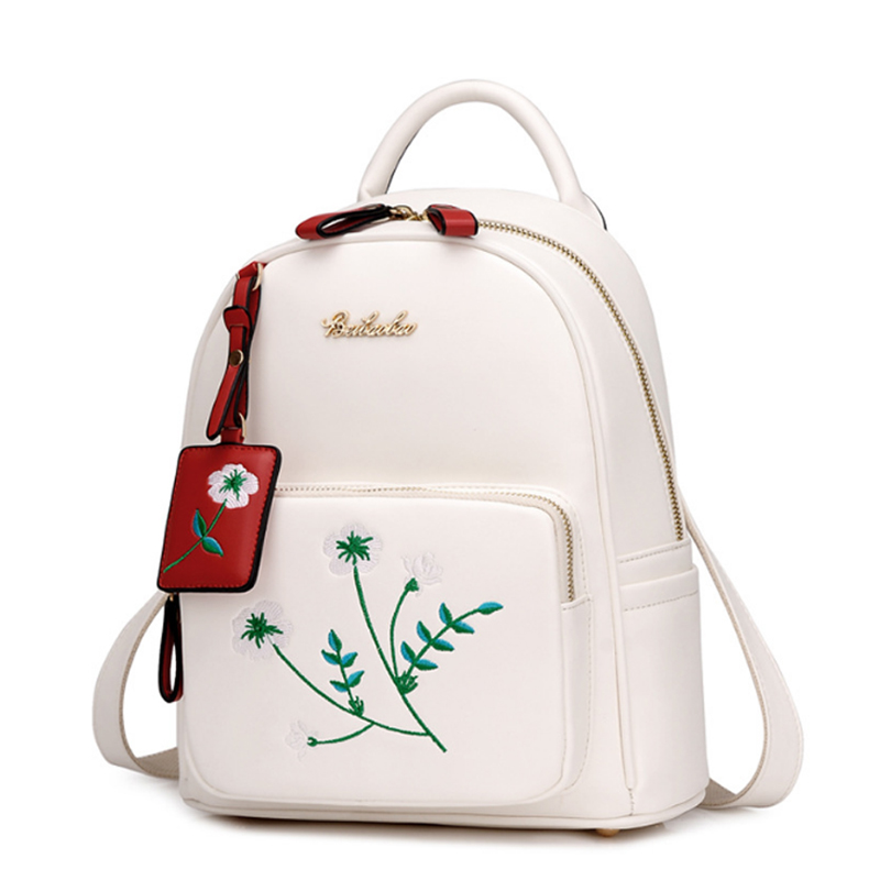 New Fashion Floral Embroidery Backpack White Women Flower Travel Bag Black PU Leather Embroidered School Girl Back-pack Quality inc black white women s size xl floral print keyhole back seamed blouse $69
