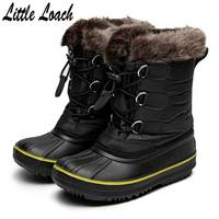 Kids Boots Winter Warm Shoes For Girls Boys Waterproof Casual Snowshoes Platform Plush Flat Patchwork Children