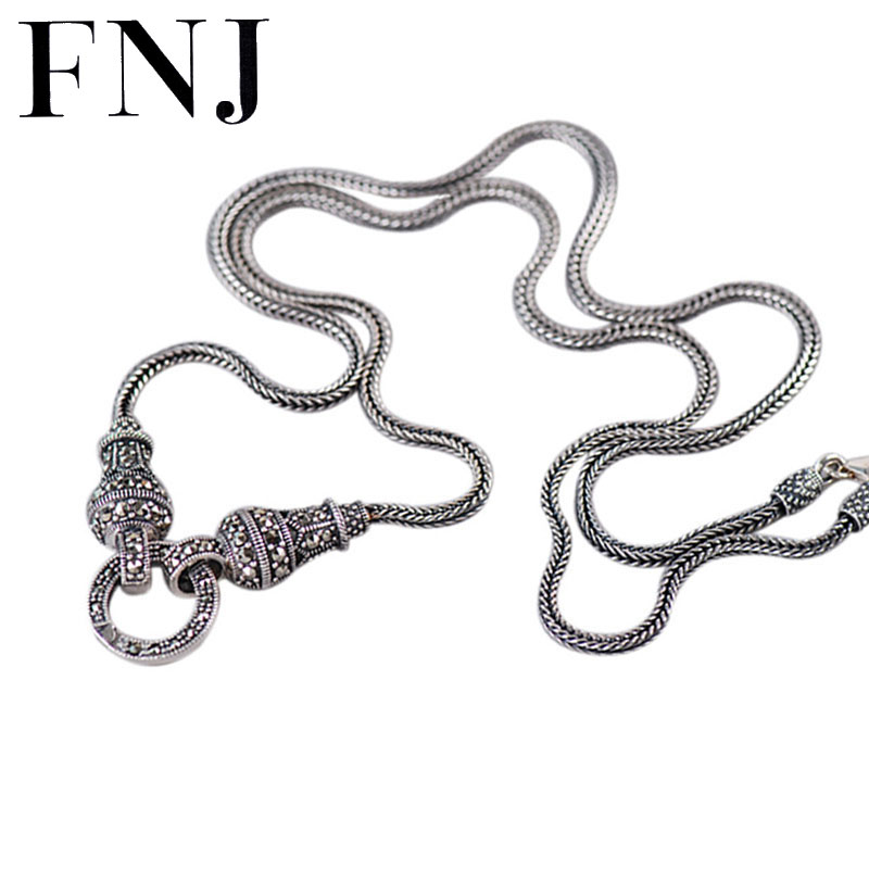 FNJ 925 Sterling Silver Necklace 70cm Long Sweater Chain Thai S925 Solid Silver Jewelry Making 40cm Choker for Women Necklaces 925 sterling silver women lapis beads yellow chalcedony peacock pendant necklace rope chain thai silver choker jewelry ch057272