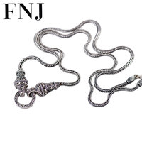 FNJ 925 Sterling Silver Necklace 70cm Long Sweater Chain Thai S925 Solid Silver Jewelry Making 40cm Choker for Women Necklaces