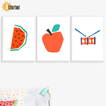 ATTRAYANT Sandía Apple Canvas Painting Nordic Poster Animal Wall Art Wall Pictures Kids Room Estilo nórdico Decoración de los niños