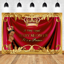 NeoBack Royal Boy Baby Shower Photography Background Golden Crown Black Skin Prince Red Booth Backdrop Photo Studio