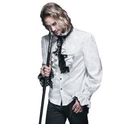 Britse Stijl Steampunk Victoriaanse Wit Blouses Met Tie Kraag 3xl Gothic mannen Lange Mouw Overhemd Voor Man