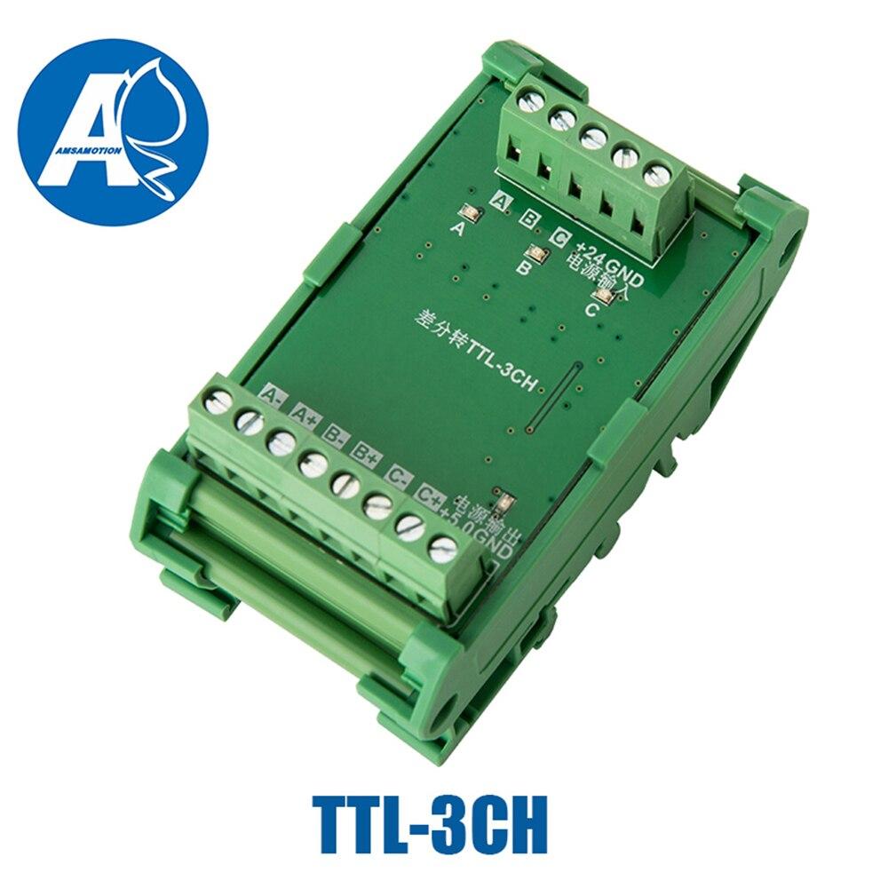 2 3 4 canaux convertisseur différentiel TTL dans le collecteur HTL signaux borniers plaque PLC NPN & PNP TTL-2/3/4CH - 4