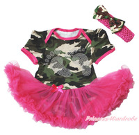Rhinestone baby voet print camouflage bodysuit hot roze jurk NB-18Month MAJS0312