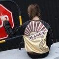 Plus size 2017 nova outono inverno PU Couro Falso estrondo beading Lantejoulas coloridas hotline bling bomber motocicleta do revestimento do revestimento das mulheres