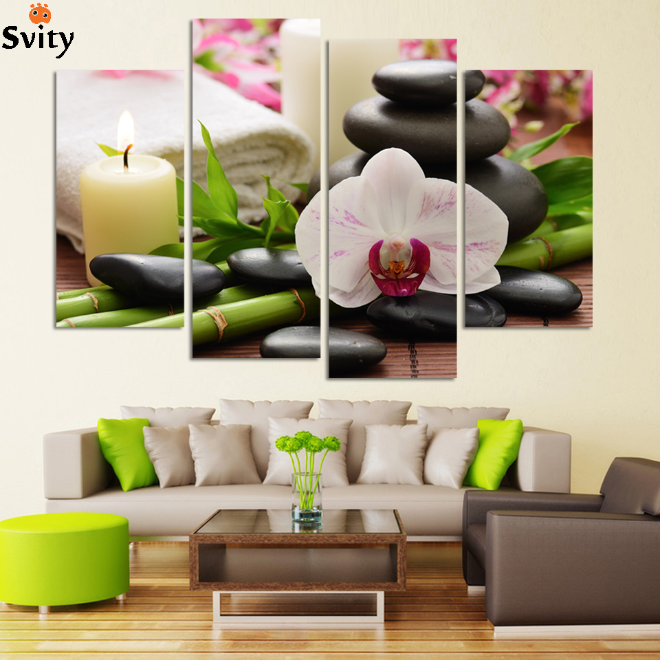 Hd Canvas Prints Picture Spa Nail Salon Store Decor Wall: 4 Panel SPA Wall Painting HD Candels Hot Spring Stone