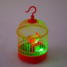 Electronic bird Singing Chirping Bird Toy in Cage Kids Voice Control Electronic Pet Toy