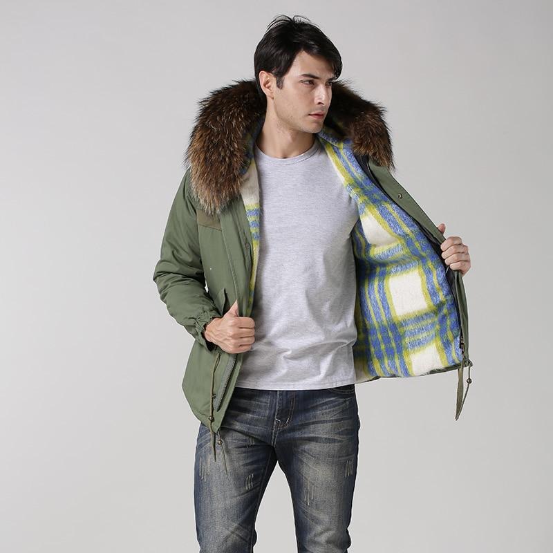 Free shipping faux fur lining Male winter coat