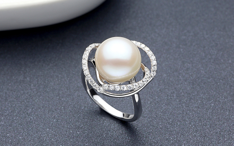 TZ10121WR silver pearl ring