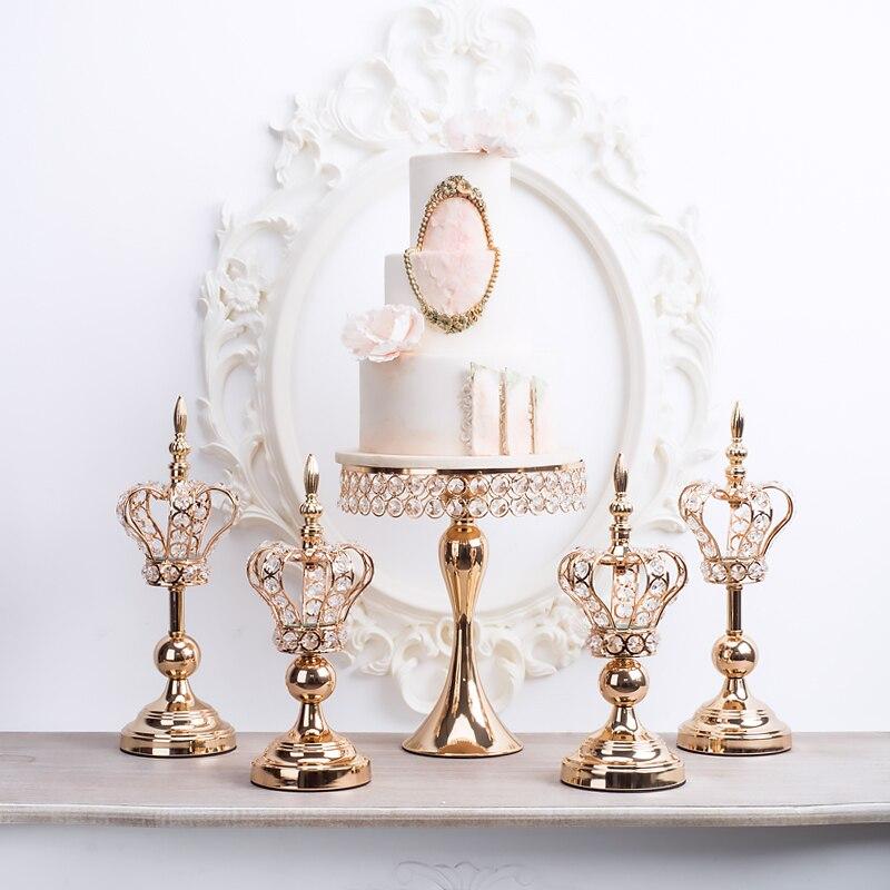 Maison artisanat ornement de luxe mariage chandelier dentelle couronne bougeoir Dessert table centres de table décoration grand gâteau stand