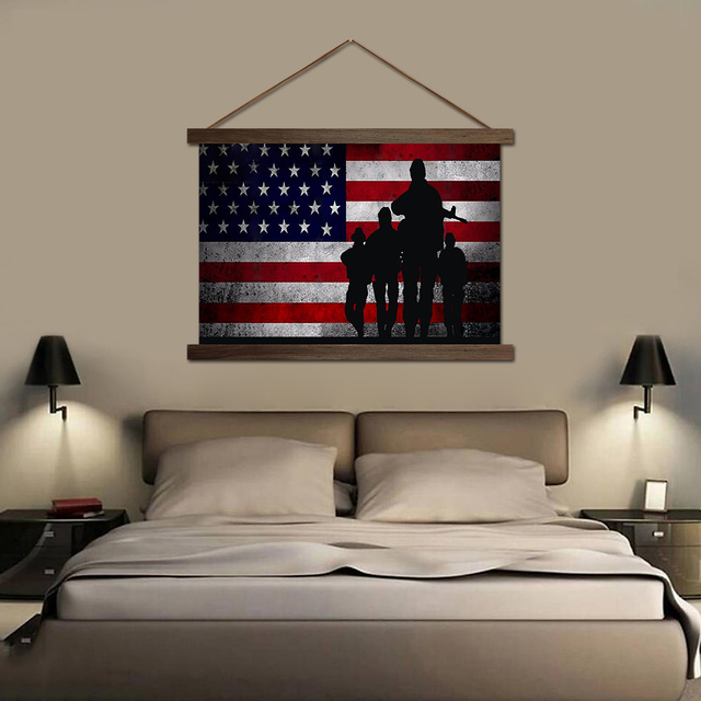 Merveilleux HD Prints Pictures Living Room Wall American Flag With Soldiers Scroll  Paintings Hanging Canvas Waterproof Ink