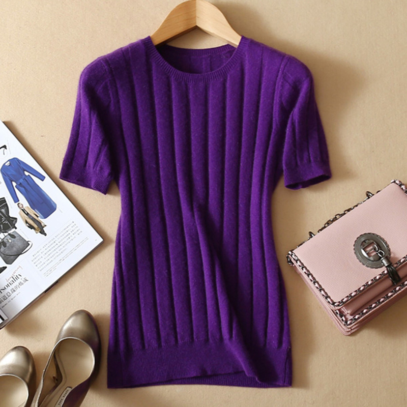 LHZSYY 2019 Wool Knitted Blend T shirt Solid color O Neck Women 39 s Summer Hot Pullover Soft Half sleeve and Multi color Optional in T Shirts from Women 39 s Clothing