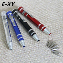 E-XY 8 In 1 Precision Magnetic Pen Style Screwdriver Screw Bit Set Slotted Torx Hex V1.5-3.5 Repair Tool