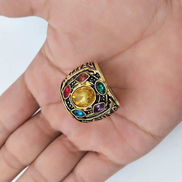 Avengers Infinity War Thanos Infinity Gauntlet Power Cosplay Alloy Ring Jewelry  2