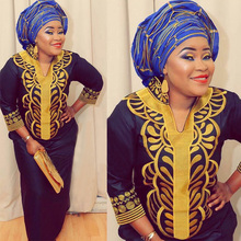 Африканский Базен Вышивка платья длинное платье без шарфа мягкий материал LA066
