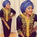 Африканский новый базен вышивка платья длинное платье без шарф мягкий материал