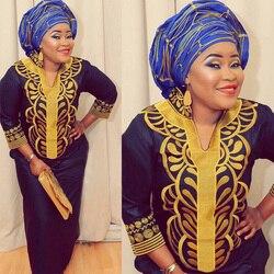 Novo africano bazin bordado vestidos longos vestido sem lenço material macio LA066