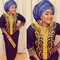 Nueva africano bazin bordado vestidos largos vestido sin la bufanda de material blando
