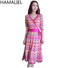 HAMALIEL Runway Summer Autumn Women Party Sweater Dress 2017 Luxury Rainbow Striped Knitting Three Quarter Sexy V Neck Bow Dress