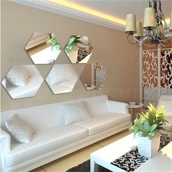 2015 New Style Acrylic Hexagon 3d Mirror Wall Sticker Home Decals
