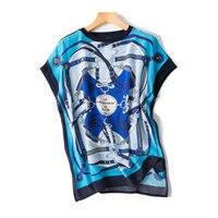 Женская мода печатных свободные open hem шелк футболка футболки с коротким рукавом синий один и более размер